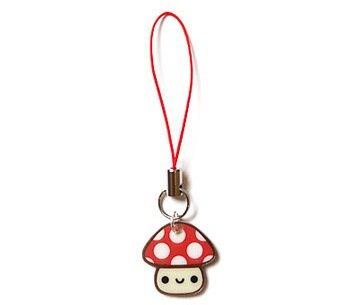 Happy Mushroom Cell Phone Charm