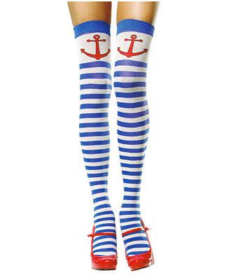 Anchors Away Striped Thigh High Tights