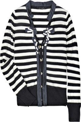T-Bags Striped Wool Blend Cardigan
