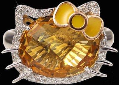 Hello Kitty Diamond and Citrine Ring