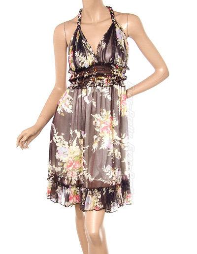 NWT Chic V-shape Flower Print Summer Dress