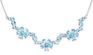14 Carat Sky Blue Topaz Sterling Sliver Floral Necklace