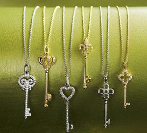 Diamond Crown Key Pendant Necklaces