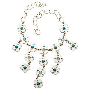 Ivory Enamel and Turquoise Bib Necklace