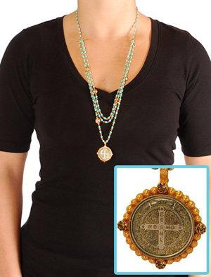 Virgins, Saints & Angels San Benito Magdalena Necklace Gold/Turquoise