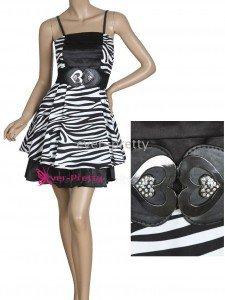 Cute Zebra Print Black Belt Mini Dress
