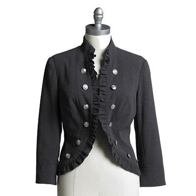 Ruffle Trim Military Jacket