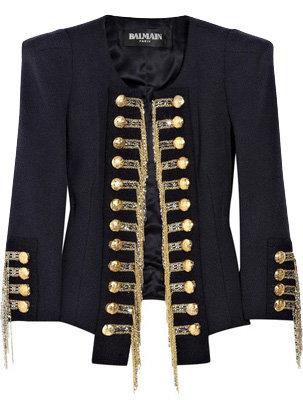 Silk Blend Tweed Military Jacket
