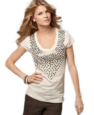 Calvin Klein Jeans Top, Scoop Neck Short Sleeve Sequin Beaded Tee