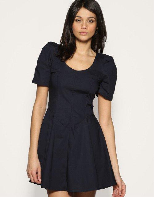 TNFC Shoulder Pad Retro Flare Dress