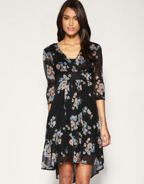 ASOS Spaced Floral Chiffon Dress