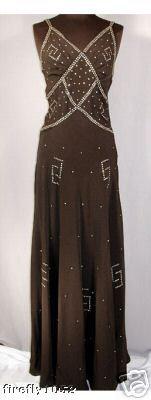1930s Long Crepe Rhinestone