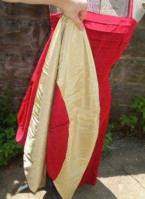 1940s Red Taffeta Swing Dress