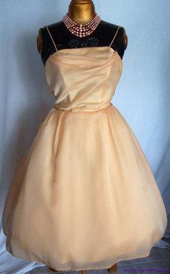 1950s Peach Chiffon