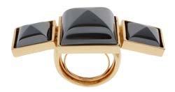 Kara by Kara Ross Hematite and Gold Triple Gemstone Ring