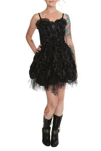 Black Velveteen Satin Dress
