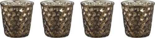 Crate & Barrel Antiqued Glass Gold Candleholders