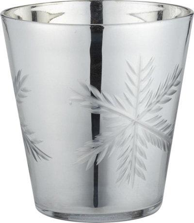 Crate & Barrel Luster Glass Snowflake Candleholder