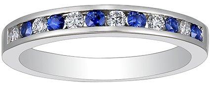 Brilliant Earth Platinum Channel Set round Diamond and Sapphire Ring
