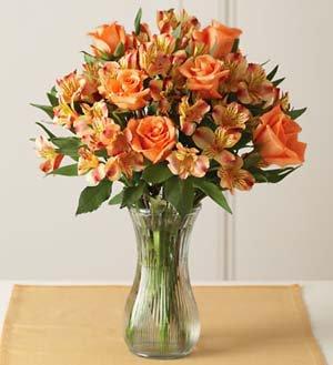 Orange Rose & Peruvian Lily Bouquet