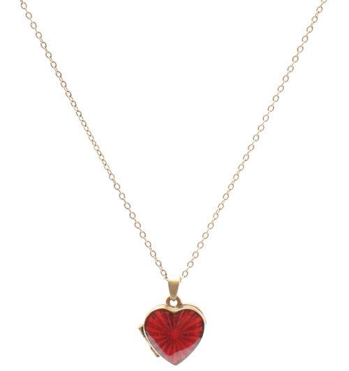 Cath Kidston Red & Gold Enamel Starburst Heart Locket