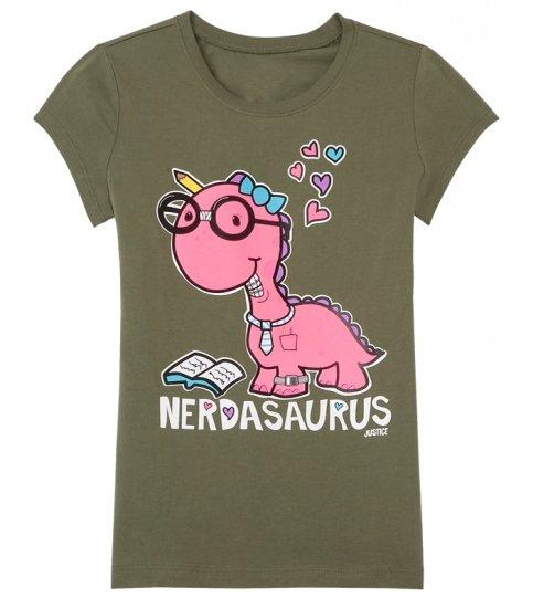 Justice for Girls Nerdasaurus Dinosaur Tee
