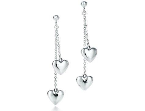Tiffany Double Drop Heart Earrings