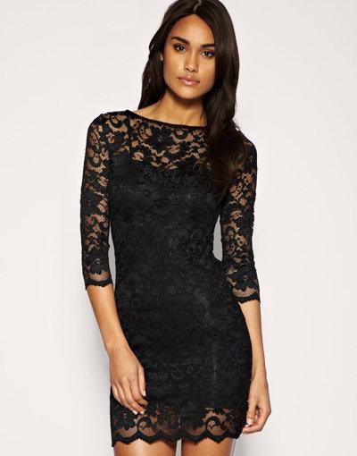 ASOS Slash Neck Lace Body-Conscious Dress