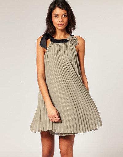 Lipsy Pleated Rosette Dress