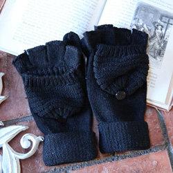 Black Ribbed Sweater Fingerless Mitten Gloves