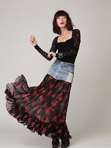 FP-1 Mini Denim Print Maxi Skirt