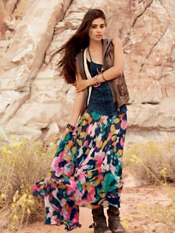 Free People FP-1 Desert Florals Maxi Skirt