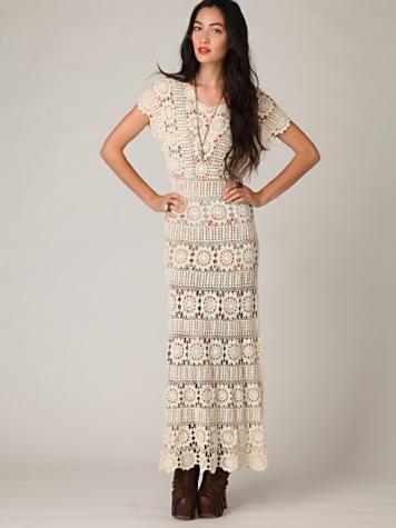 Free People Hand Crochet Maxi Dress