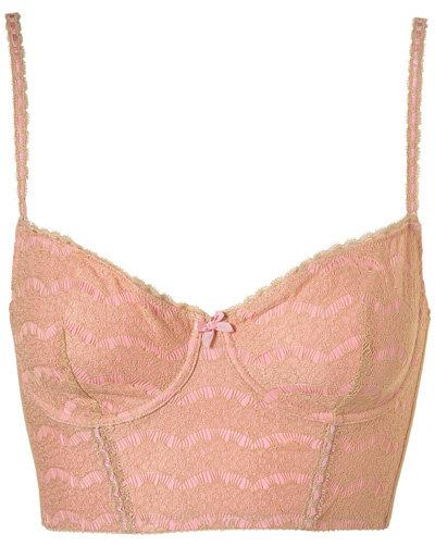 Topshop Eyelash Nude Lace Longline Bralet