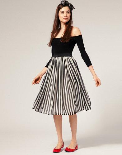 ASOS Stripe Midi Skirt