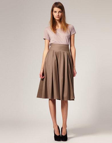 ASOS WHITE Wool Mix Mid Calf Full Skirt