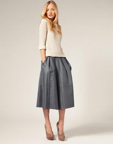 Whistles Midi Leather Skirt