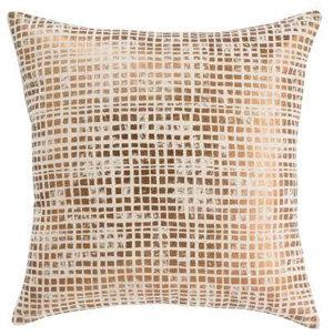 Distressed Metallic Squares Bronze Pillow