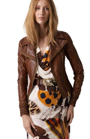 Blumarine Smocked Lambskin Leather Jacket