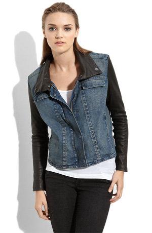 """Helmut Lang """"Dirty Vintage"""" Denim & Leather Jacket"""