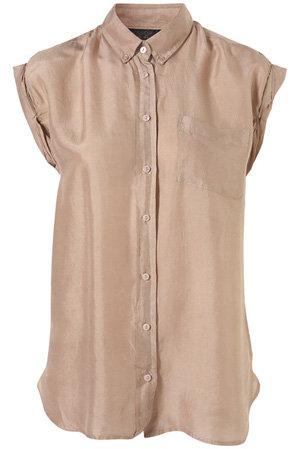 Topshop Cap Twist Sleeve Silk Shirt