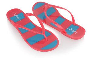 Forever21 Striped Jelly Flip Flops