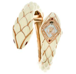 Roberto Cavalli Cream Snake Bangle Watch