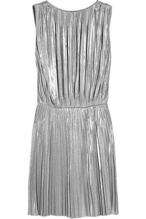 Halston Heritage Pleate Lamé Mini Dress