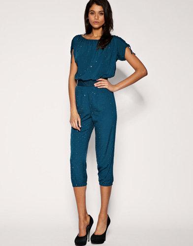 Embellished Ruched Shoulder Jumpsuit by Warehouse