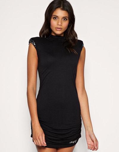 Miss Sixty Sequin Shoulder Pad Black Dress