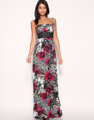 Miss Sixty Rose Animal Print Maxi Dress