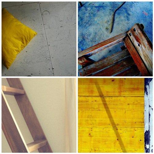 Blue + White + Yellow + Aged Wood