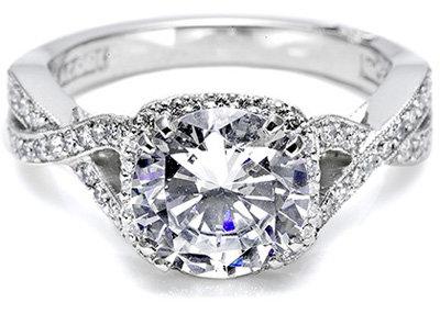 Tacori Engagement Ring with Pave Set Diamonds