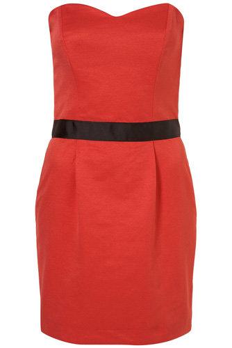 Topshop Red Rose Frill Back Bandeau Dress